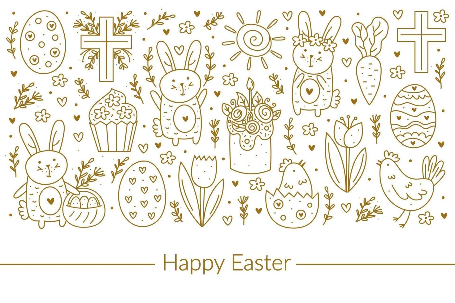 gelukkig Pasen doodle lijntekeningen ontwerp. gouden ontwerpelementen. konijn, konijn, christelijk kruis, cake, koekje, kip, ei, kip, bloem, wortel, zon. geïsoleerd op een witte achtergrond. vector