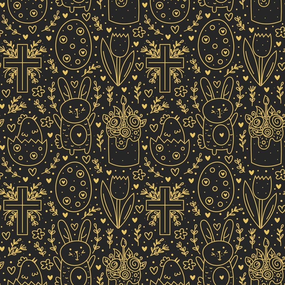 gelukkige paasvakantie doodle lijntekeningen. gouden ontwerp. konijn, konijn, christelijk kruis, cake, kip, ei, bloem. naadloze patroon, textuur, achtergrond. verpakkingspapier. vector