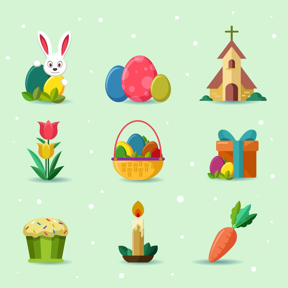 schattig vrolijk Pasen pictogramserie vector
