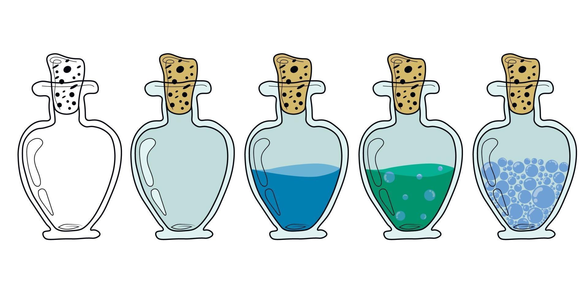 een glazen, plastic flessen met een toverdrank. een toverdrank. elixer. platte vectorillustratie. glazen flessen met verschillende vullingen, met water, met lexir. lege fles. magische fles. alchimie vector