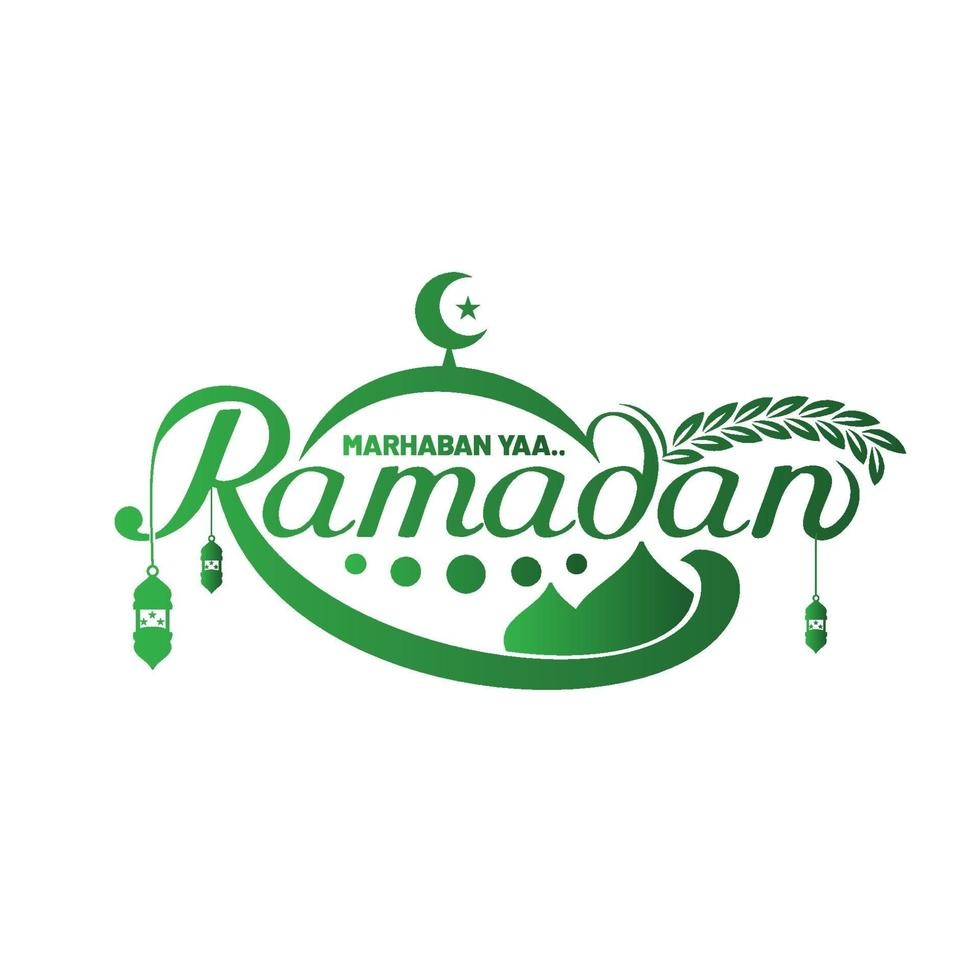 belettering kunst van marhaban ya ramadan vector