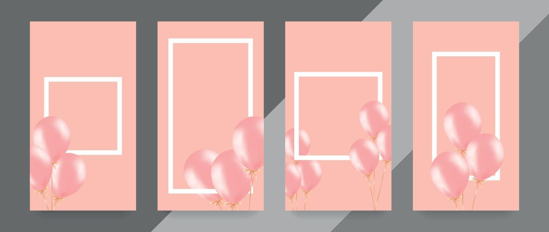 feestelijke banner met roze helium ballonnen. kadersamenstelling met ruimte voor uw tekst. handig voor aankondiging, poster, flyer, wenskaart vector