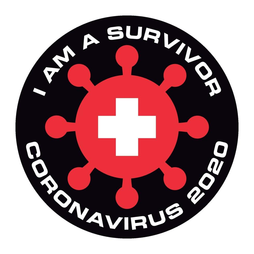 ik ben de overlevende van coronavirus 2020 zwitserland vlag sticker vector