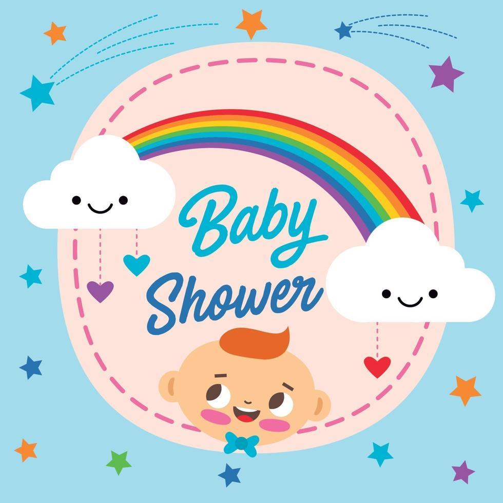 babydouche met wolken en de illustratie van de regenboogprentbriefkaar vector