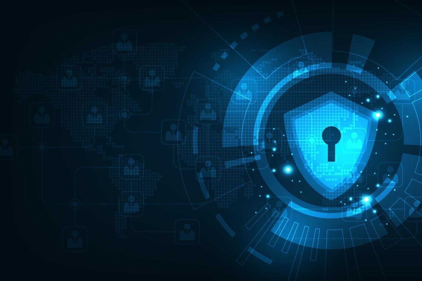 vectortechnologische achtergrond in het concept van beveiligingssystemen. vector