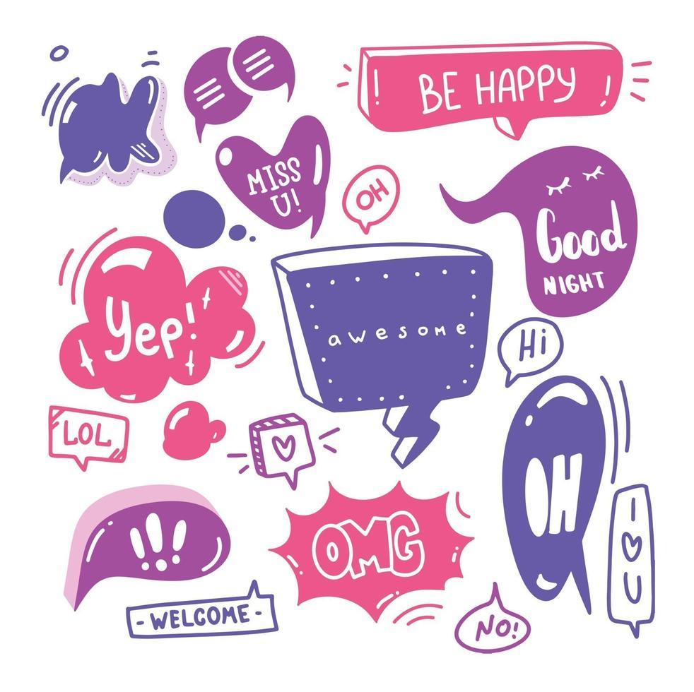 doodle set tekstballonnen met dialoogtekst hallo, liefde, ja, welkom, ok. komische hand getrokken schetsstijl. tekst- en spraakballonelement getekend met een penseel-pen. vector