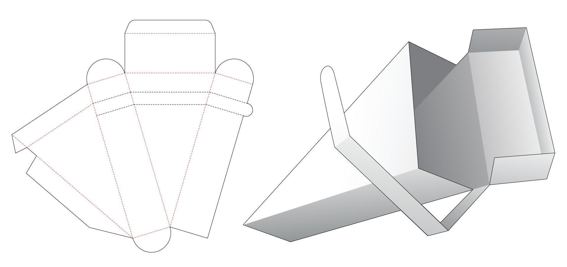 driehoekige verpakking met ritssluiting aan de bovenkant, gestanst sjabloon vector