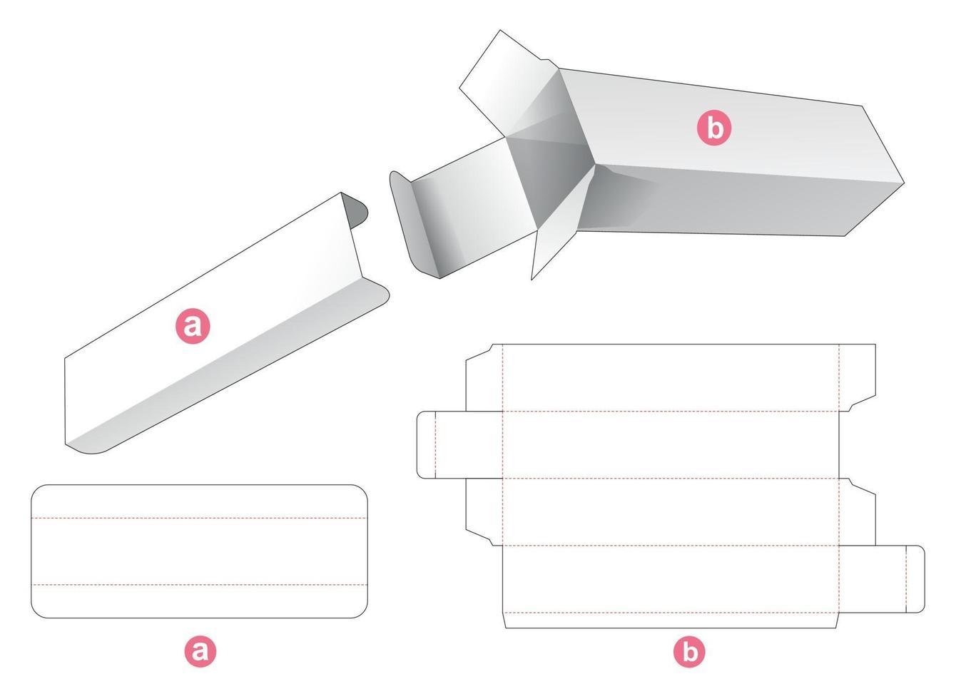hoge verpakkingsdoos met tussenstuk gestanst sjabloon vector