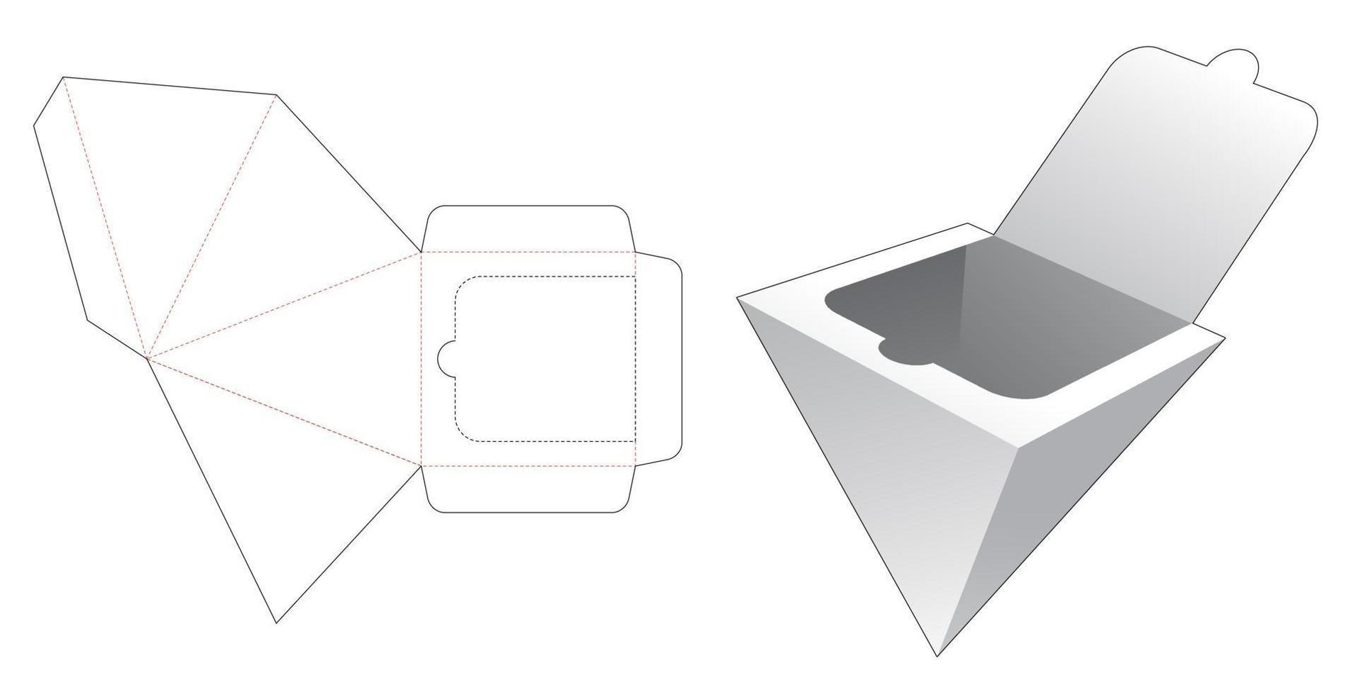piramidedoos met gestanste sjabloon aan de onderkant met ritssluiting vector