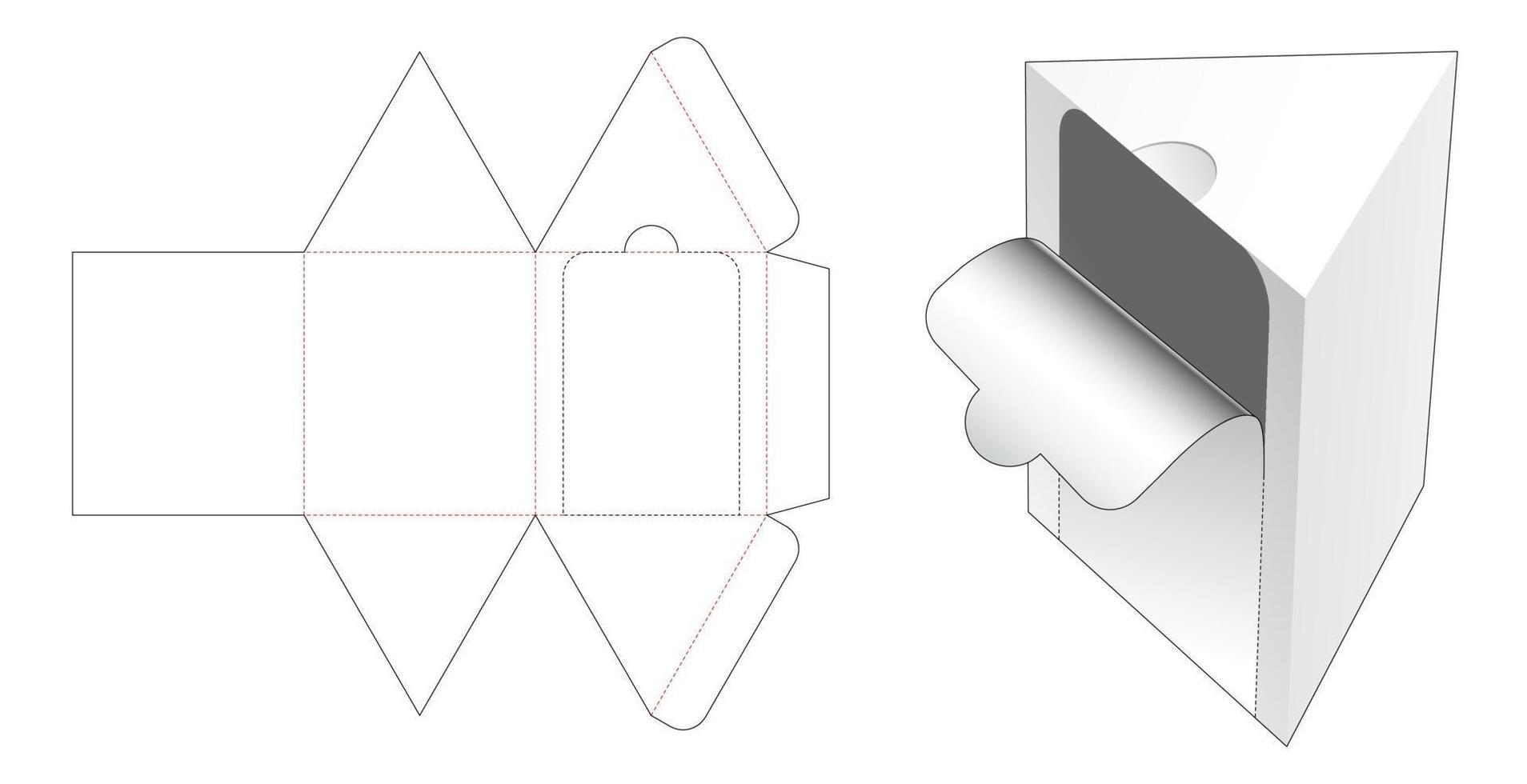 driehoekige verpakking gestanst sjabloon met ritssluiting vector