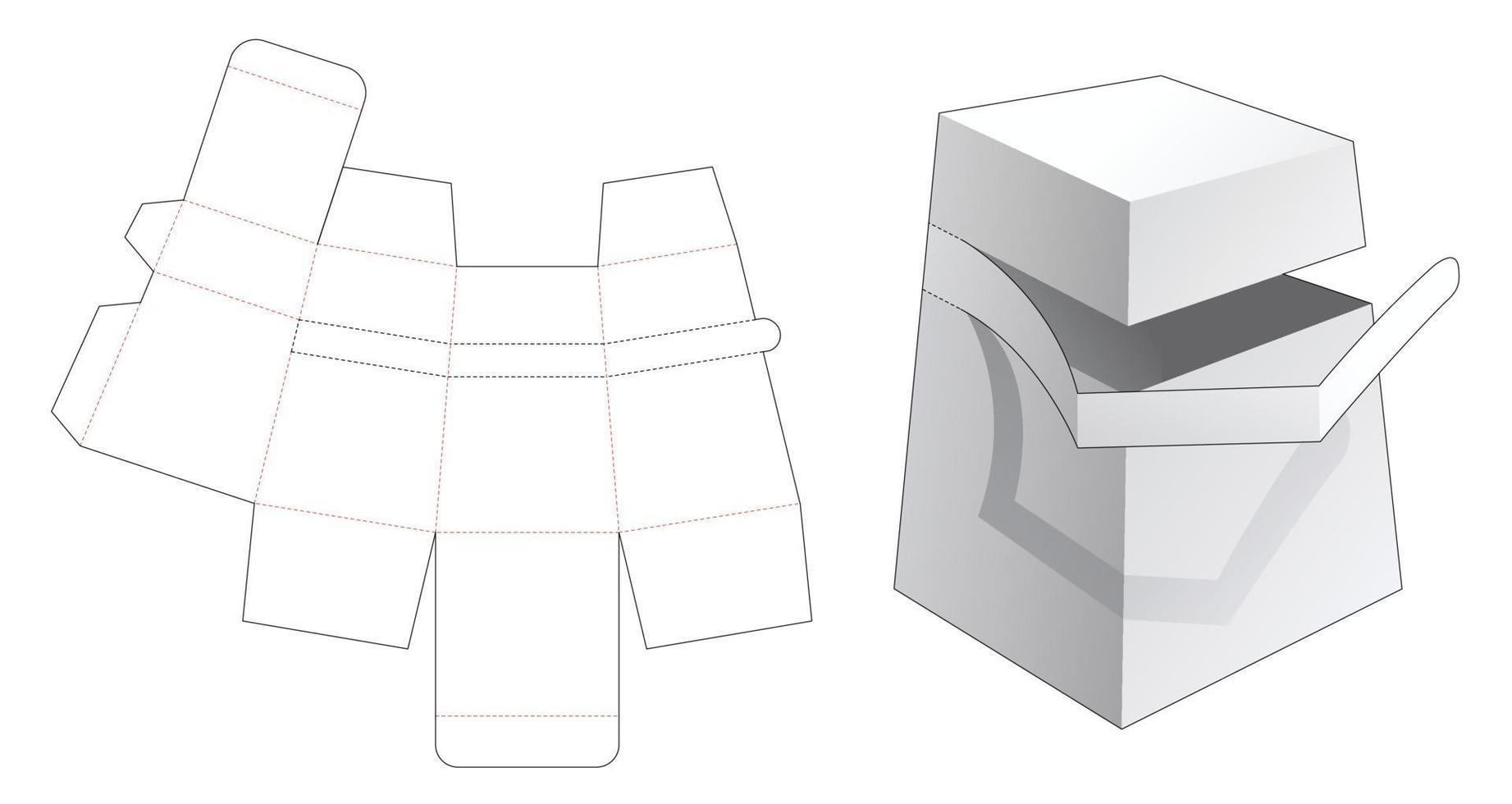 kartonnen obeliskdoos met gestanste sjabloon met ritssluiting vector