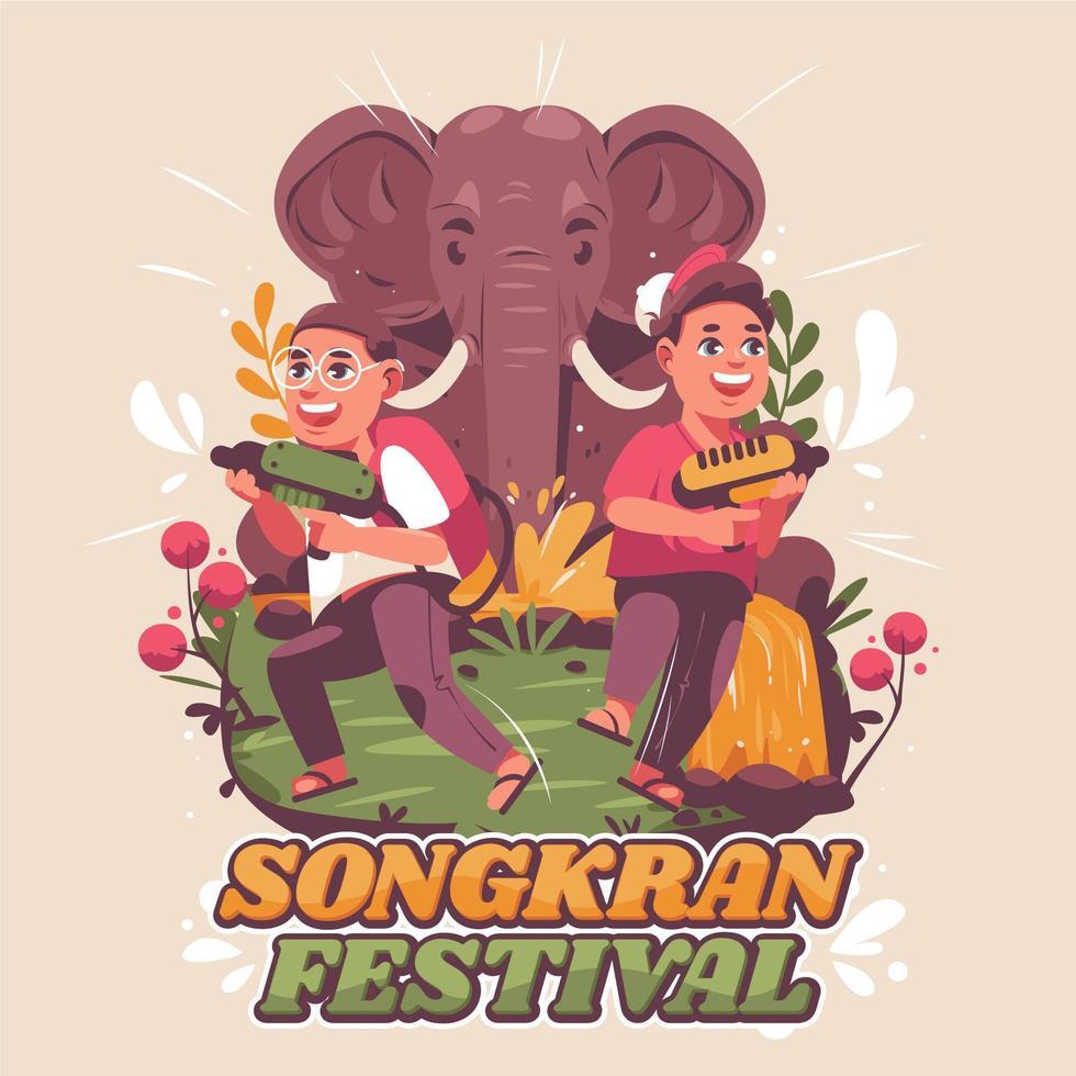 twee gelukkige kinderen vieren songkran-feest vector