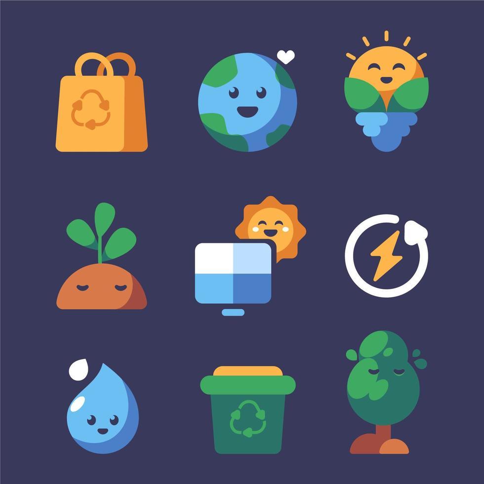 leuke en nette pictogramserie van de dag van de aarde vector