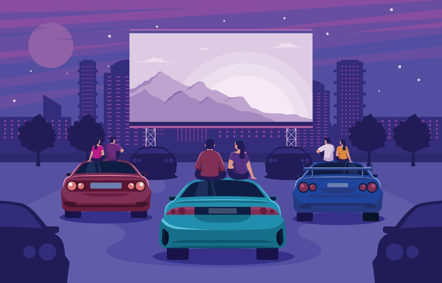 paar genieten van het kijken naar rijden in de bioscoop vector
