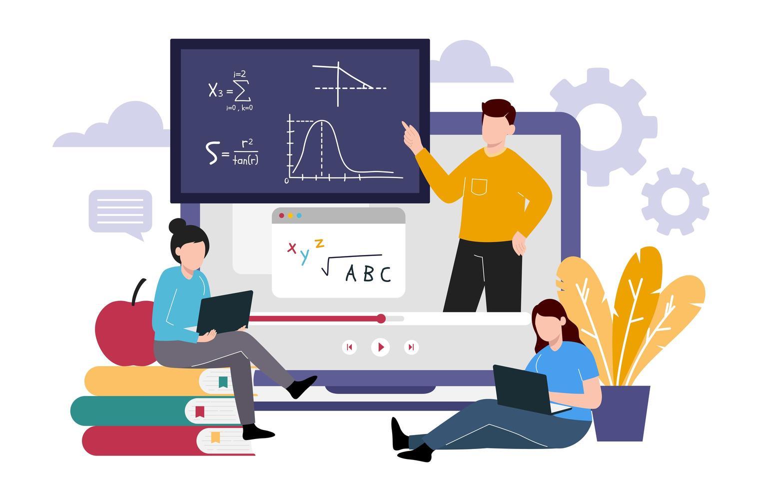 online klas met leraar concept vector