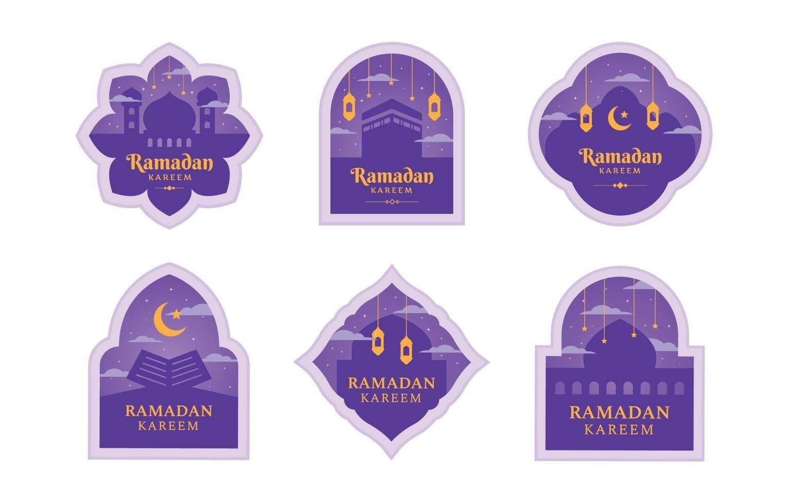 platte ramadan label set met paarse kleur vector