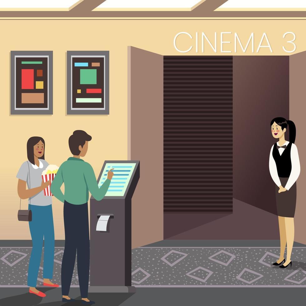 man met zelfbediening kaartjesautomaat vector