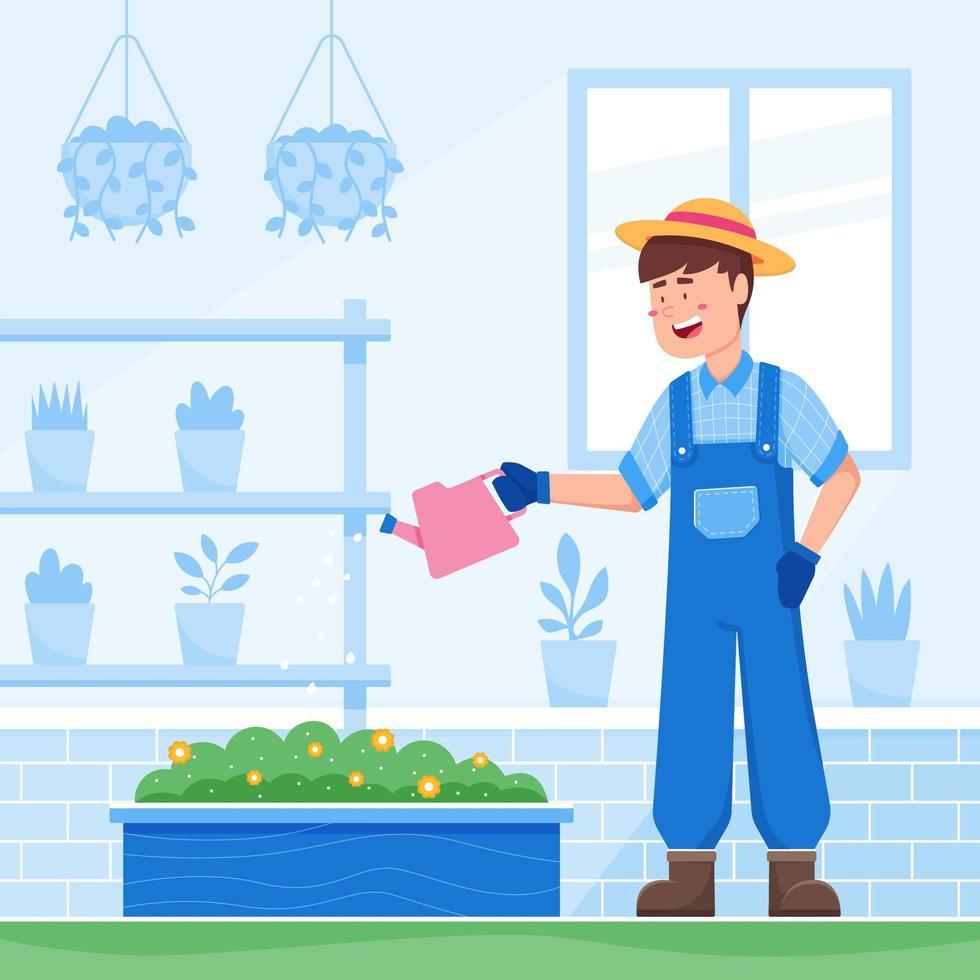 tuinieren en planten thuis water geven vector