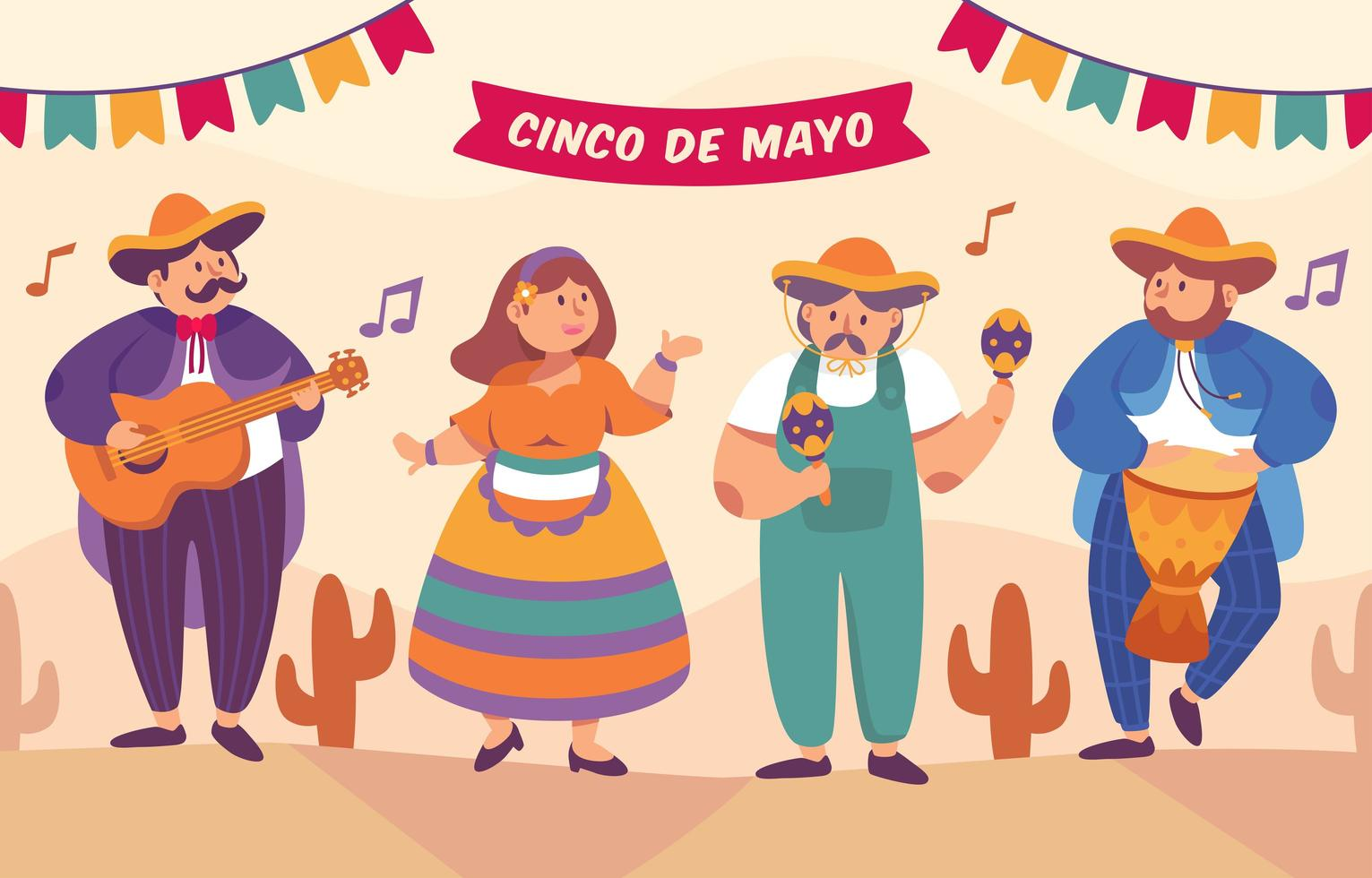cinco de mayo mariachi-groep en danserskarakter vector