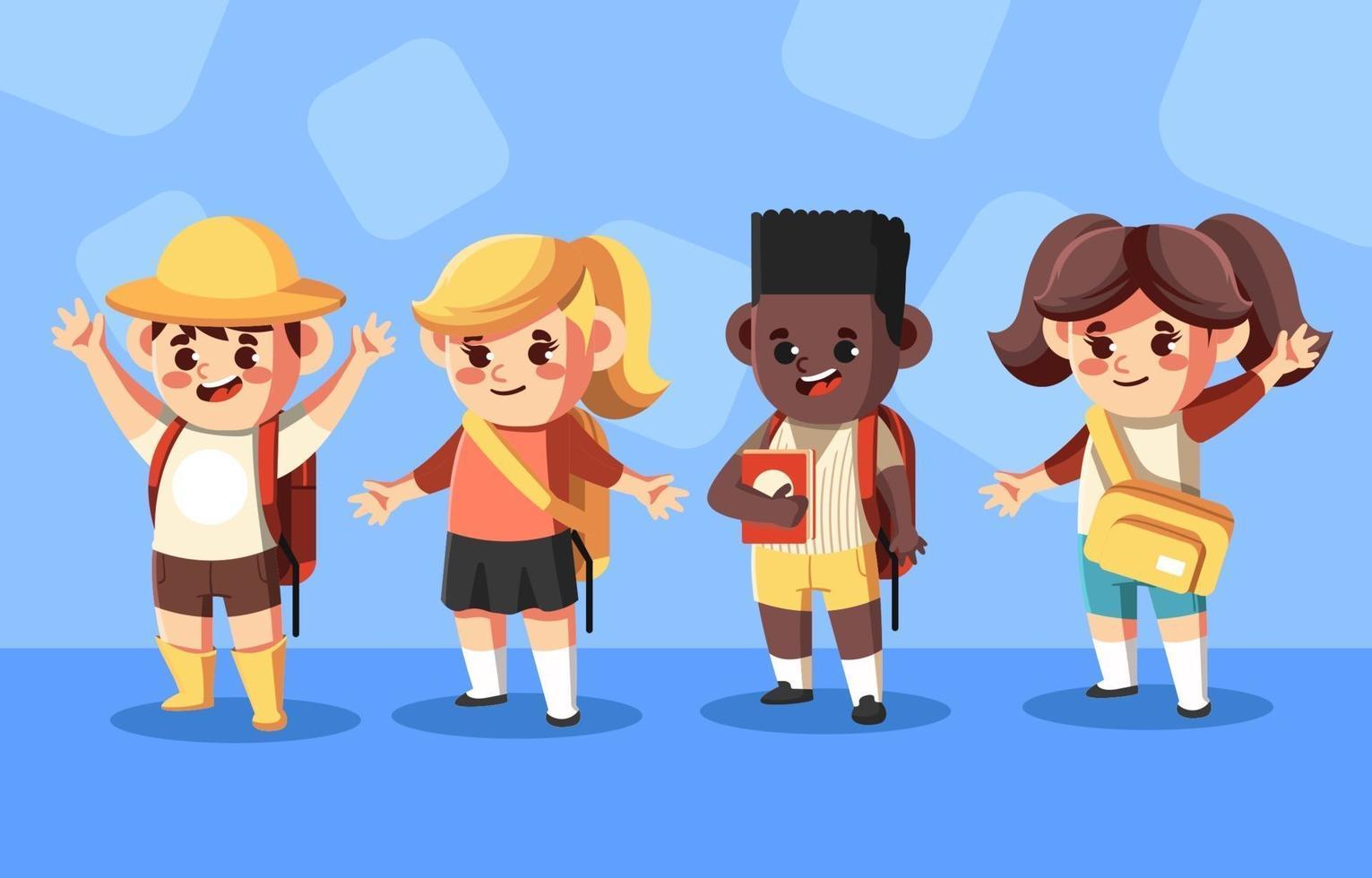 vier schattige kinderen karakter gaan naar school vector