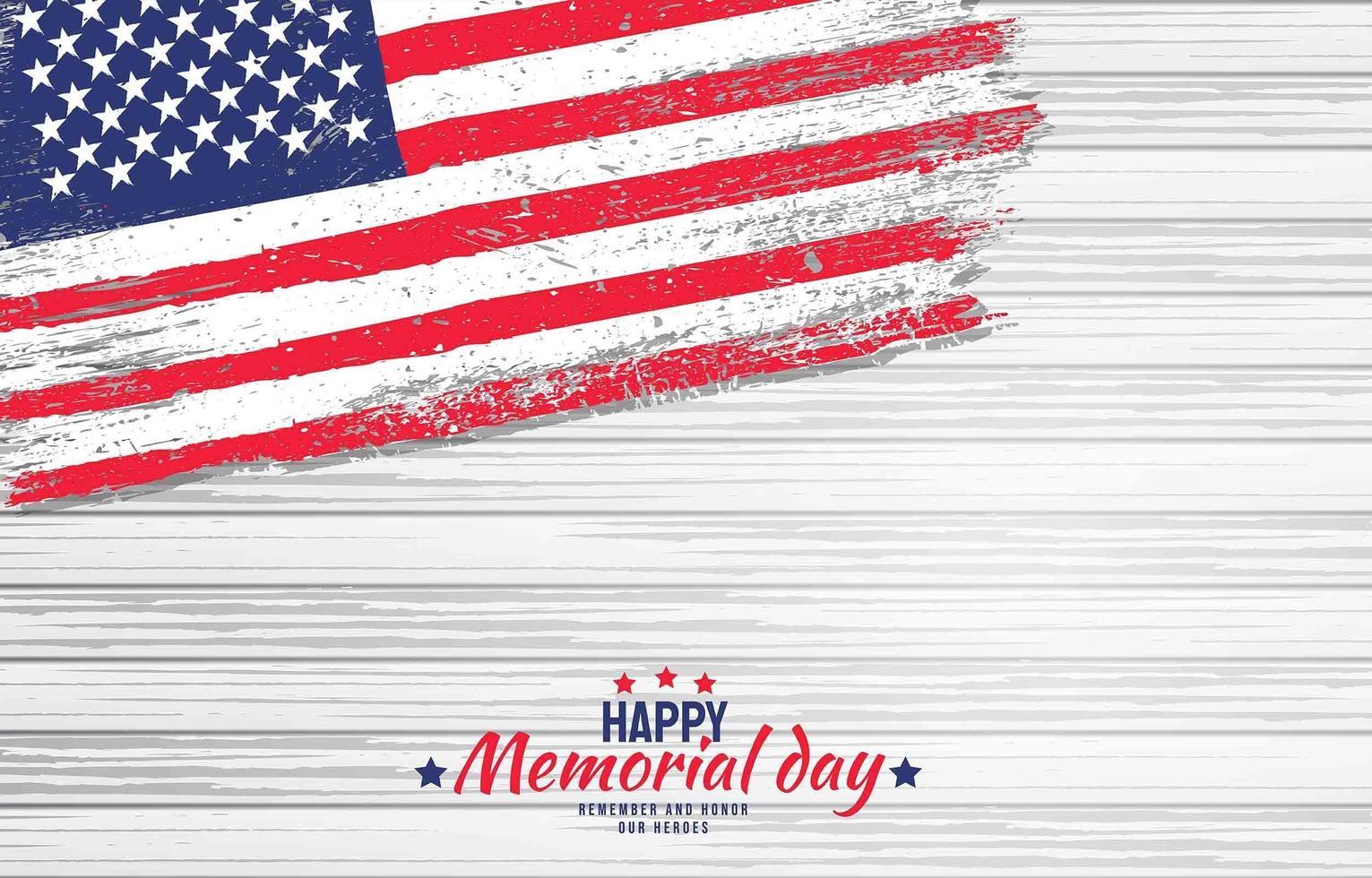 Amerikaanse herdenkingsdag met houten achtergrond vector