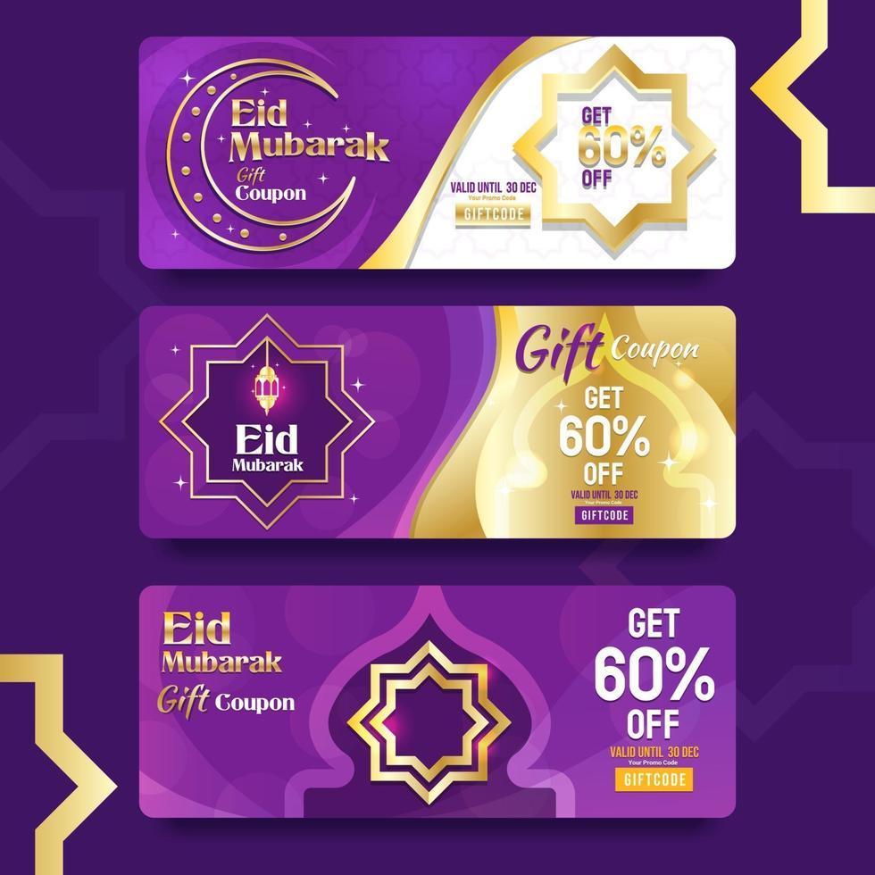 cadeaubon voor eid mubarak-viering vector