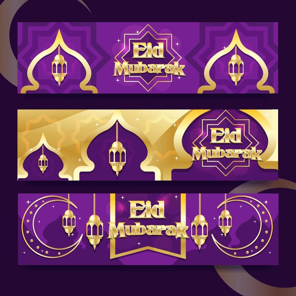 luxe paars gouden eid banner vector