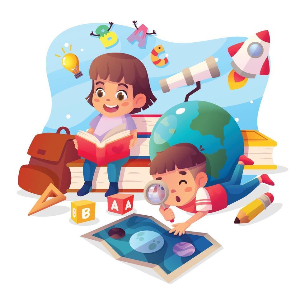 schattige cartoon kinderen studeren conceptontwerp vector