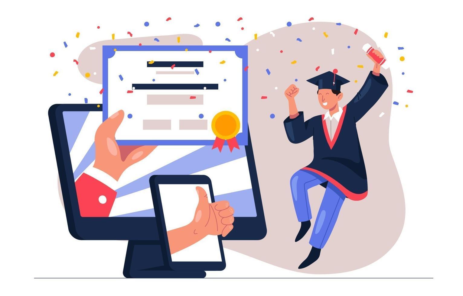 online virtuele afstuderen vector