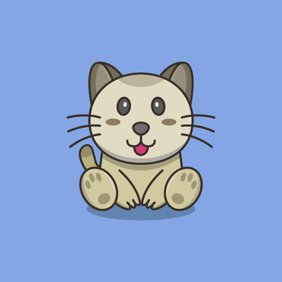 kat op blauwe achtergrond vector