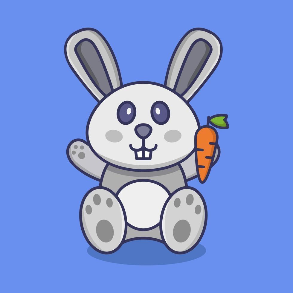konijn op blauwe achtergrond vector