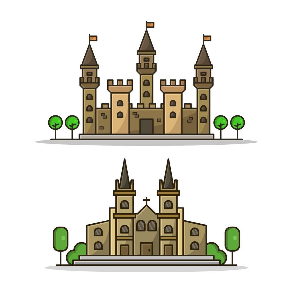 kasteel en kerk vector
