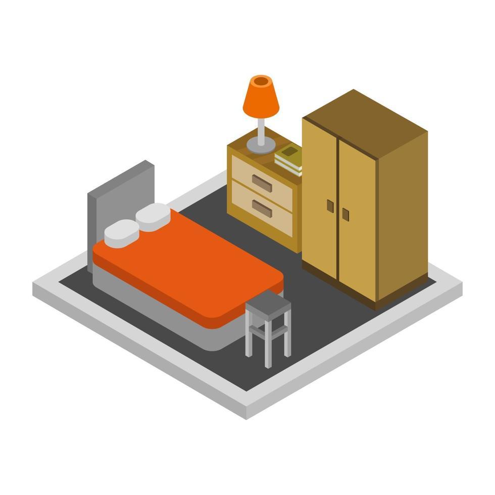 isometrische slaapkamer op witte achtergrond vector
