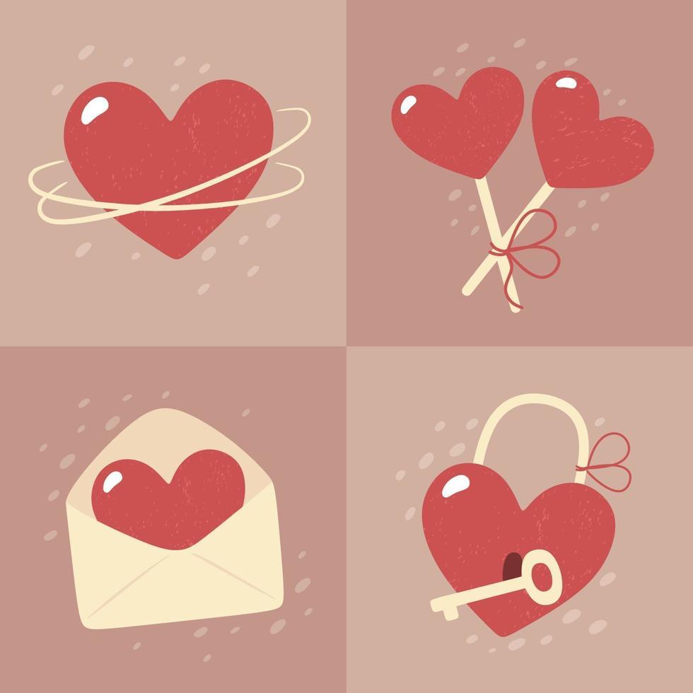Valentijnsdag - set van vector kaarten in vlakke stijl.