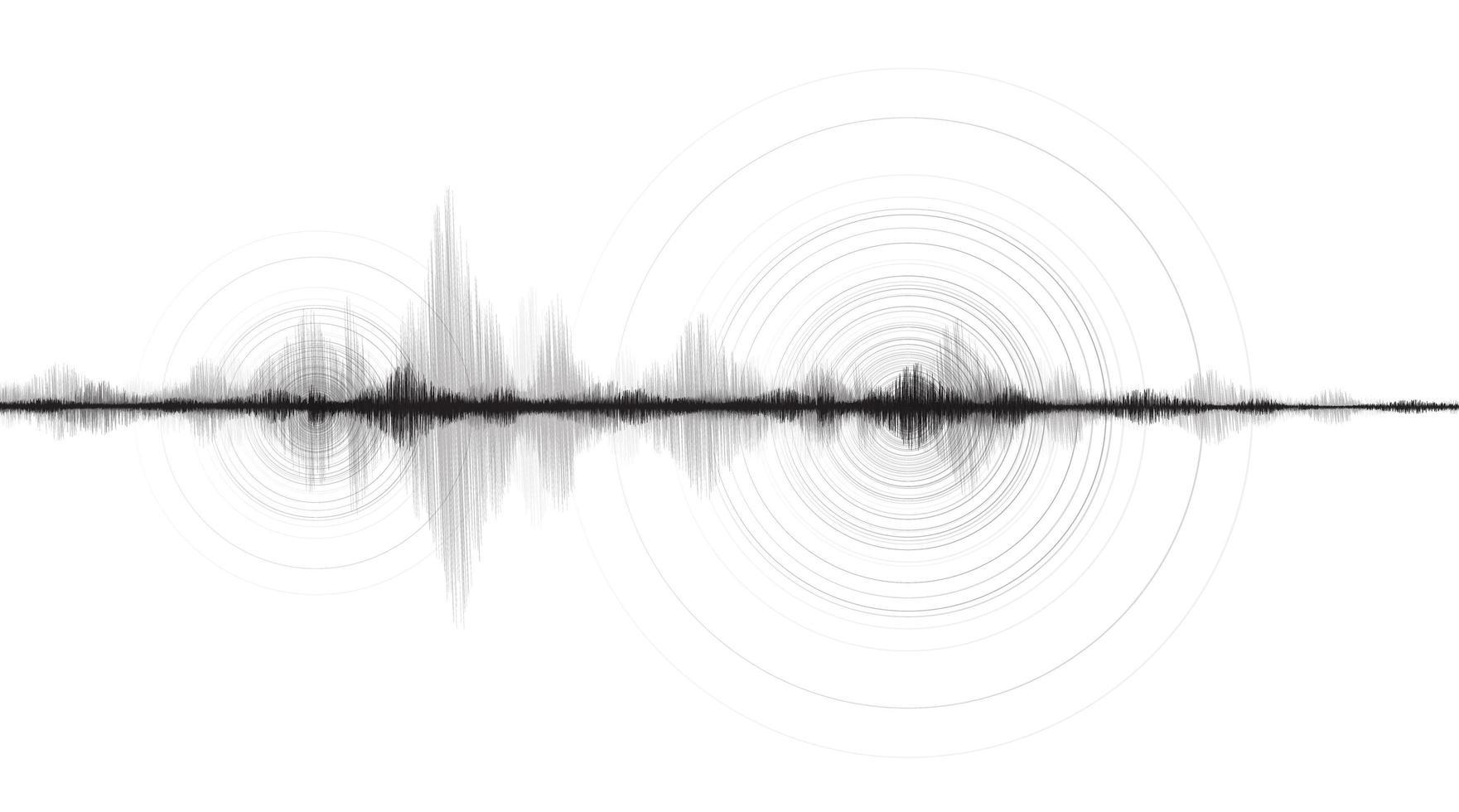 zwart-witte mini-aardbevingsgolf met cirkel trillingslijn Witboek achtergrond vector