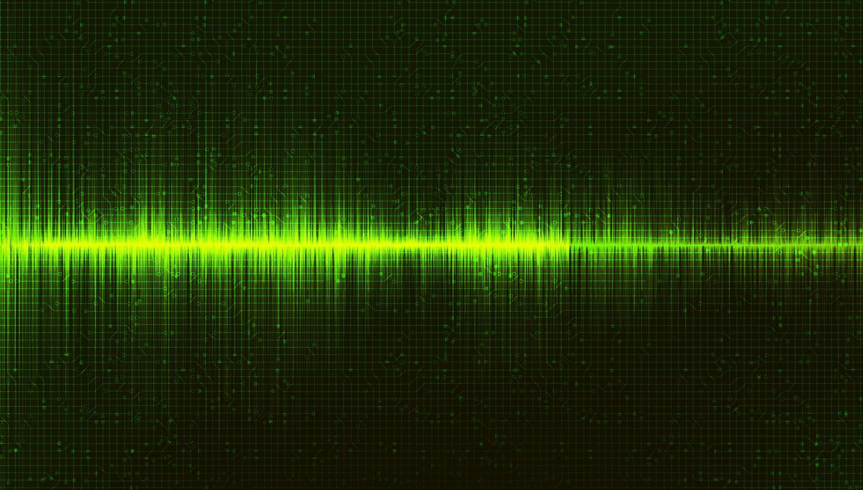 groene digitale geluidsgolfachtergrond, muziek en hi-tech diagramconcept vector