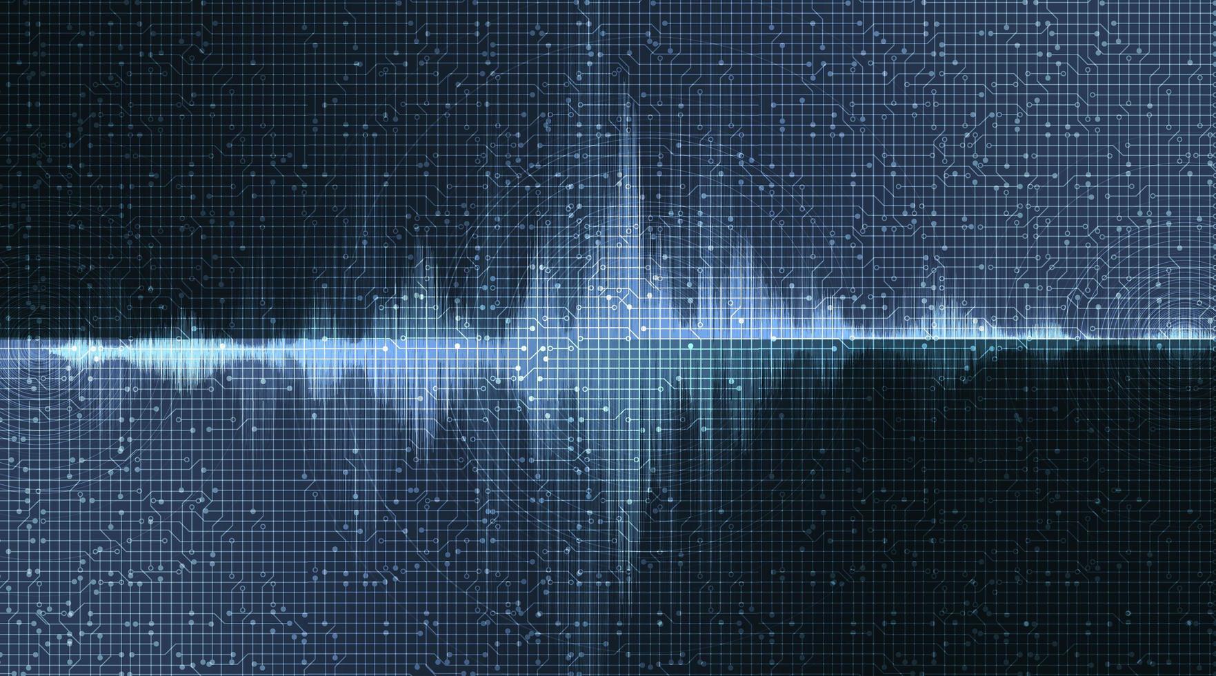 digitale geluidsgolf op donkerblauwe achtergrond, technologie en aardbevingsgolfdiagramconcept vector