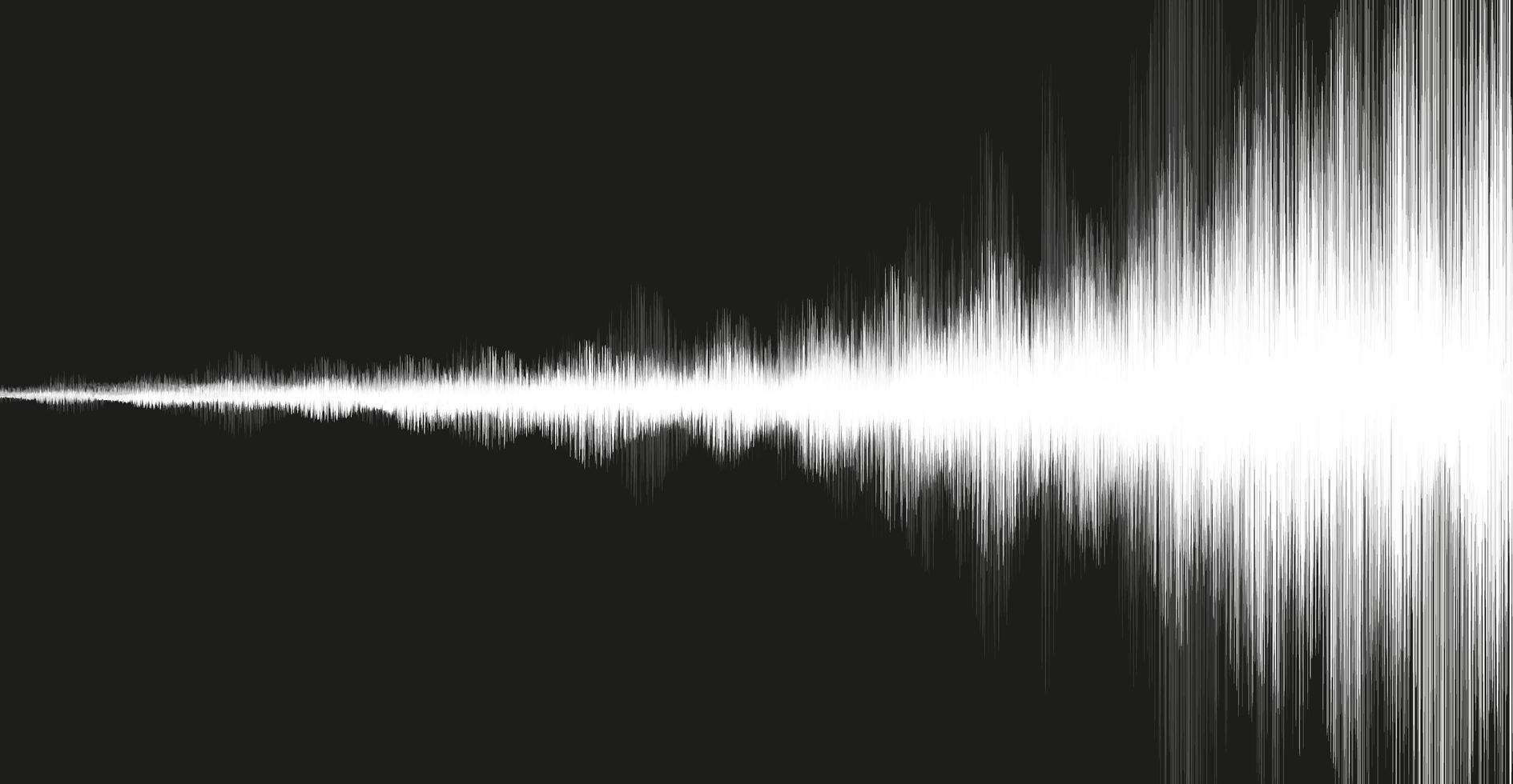 witte aardbevingsgolf op zwarte achtergrond, audiogolfdiagramconcept vector
