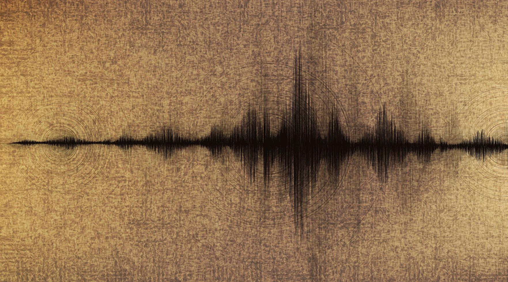 aardbeving golf laag en hoog schaal van richter met cirkel trillingen op oud papier achtergrond vector