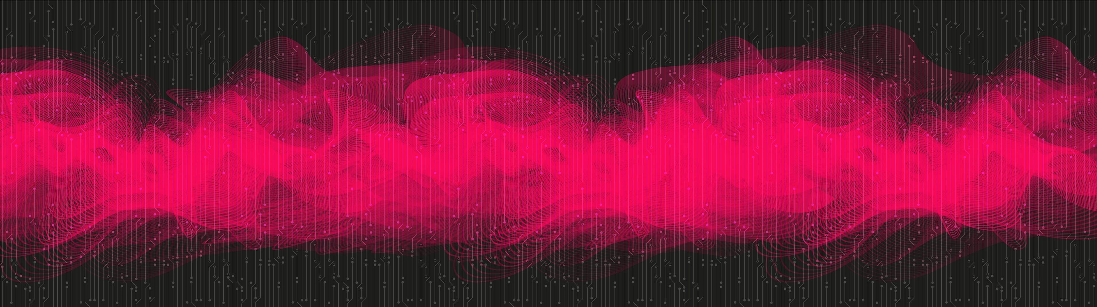 roze digitale geluidsgolf op zwarte achtergrond, technologie en aardbevingsgolf diagram concept vector