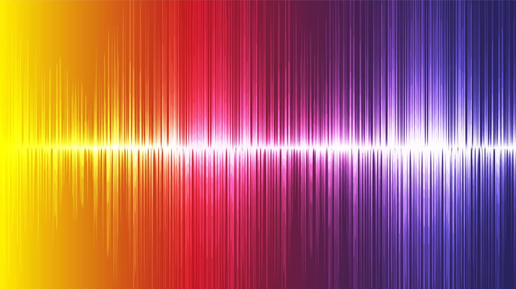 kleurrijke ultrasone geluidsgolfachtergrond, technologie en aardbevingsgolfdiagramconcept vector
