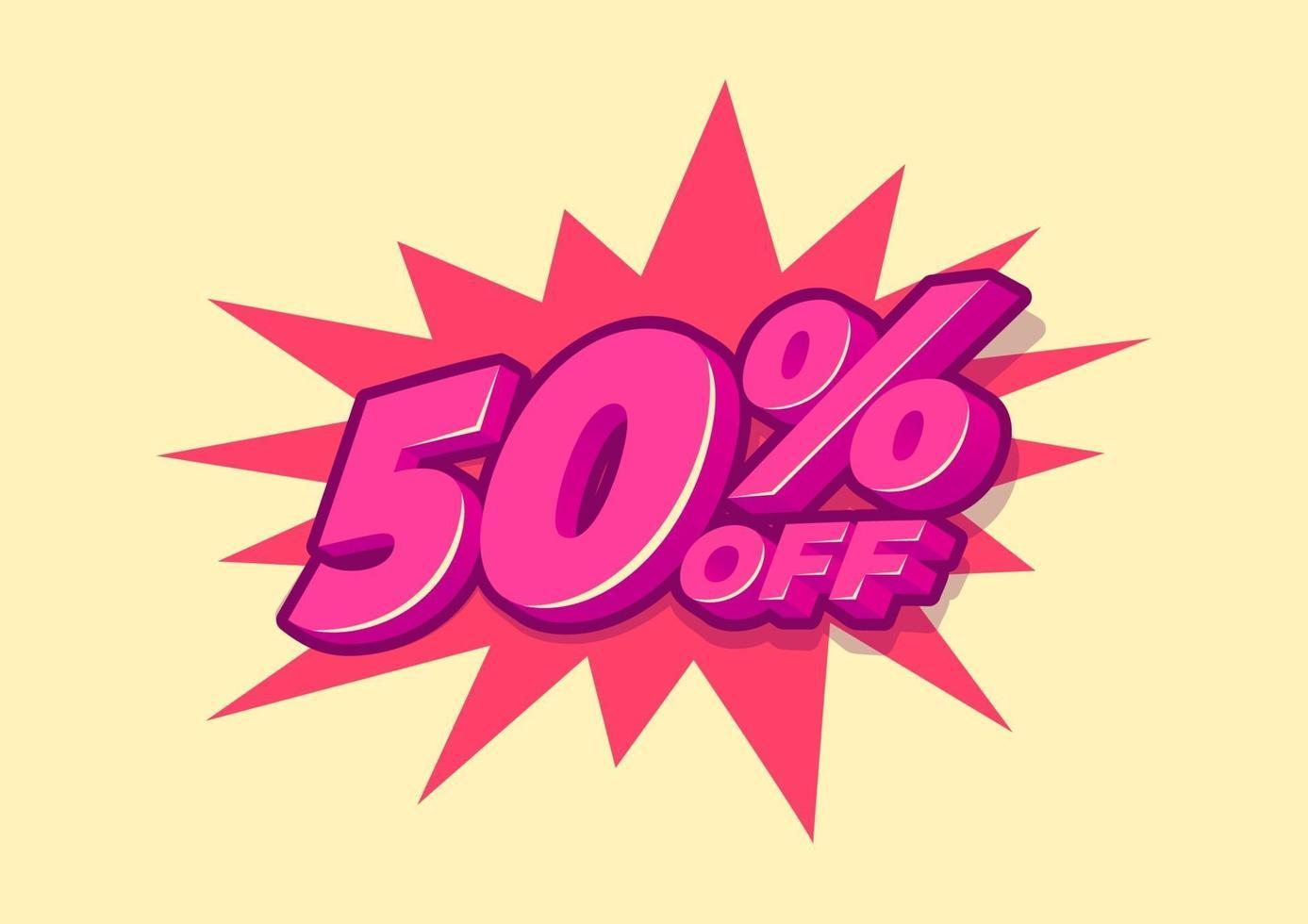 50 procent korting op verkoop-tag. verkoop van speciale aanbiedingen. 50 procent kortingsprijs vector