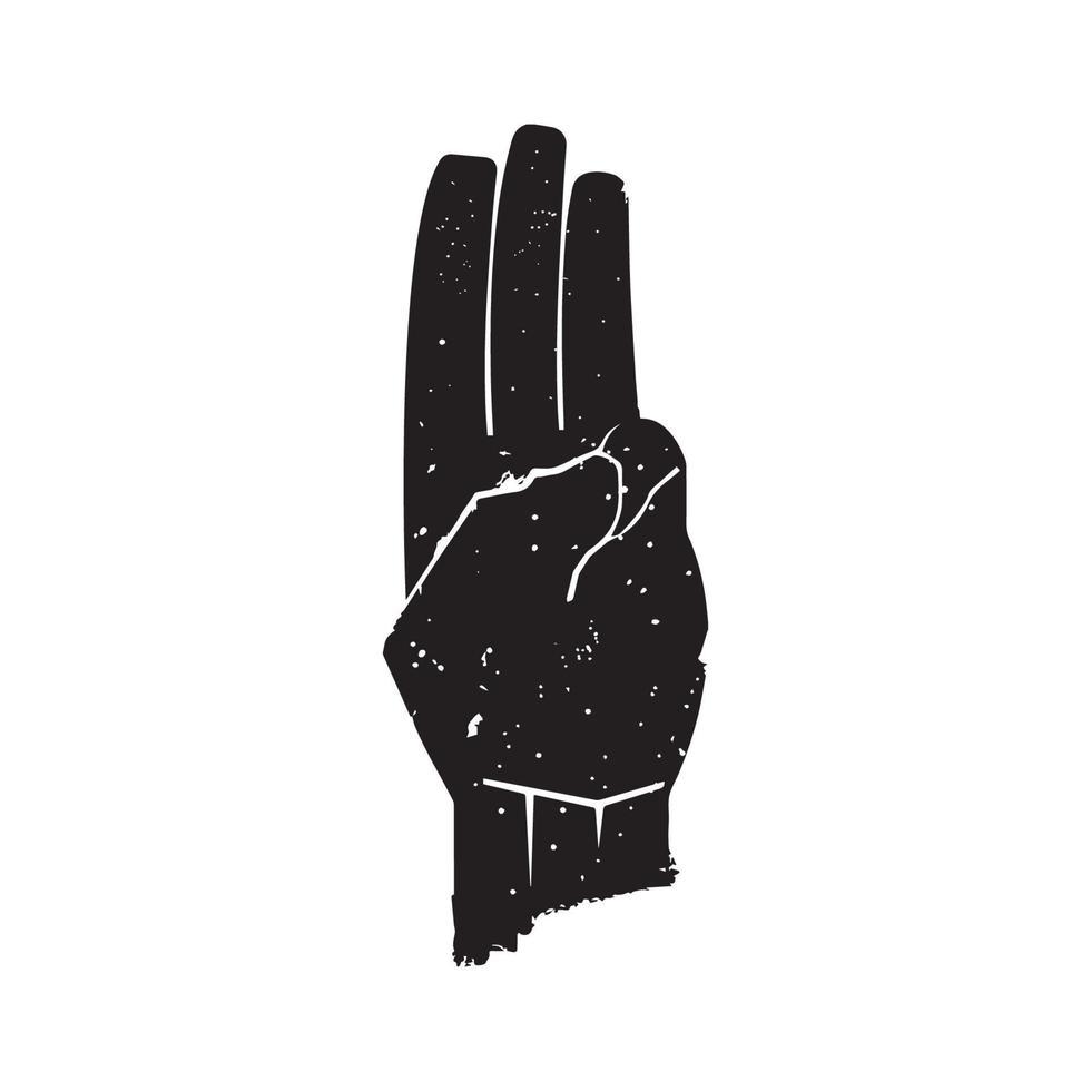 drie vinger saluutsymbool vector