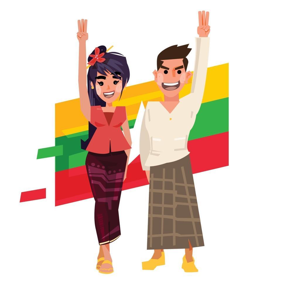 myanmar man hand vrouwen hand met drie vinger opstaan. vector
