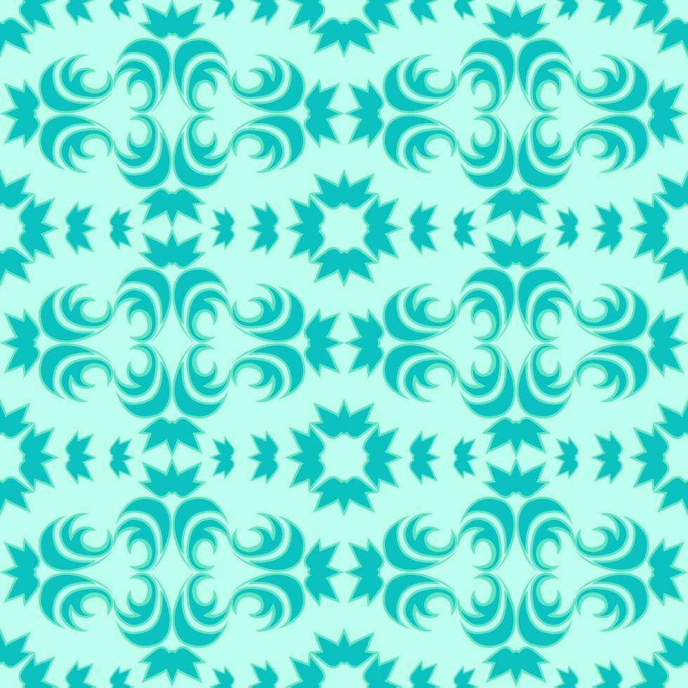 naadloze vector patroon van bloemen en abstracte elementen van turkooizen kleur met een groene streep op een mariene achtergrond.