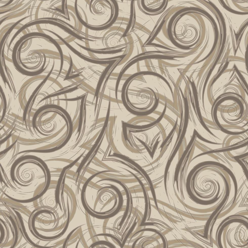 bruine vloeiende lijnen hoeken en spiralen op een beige achtergrond vector naadloze patroon. abstracte geometrische textuurgolf in pastelkleuren