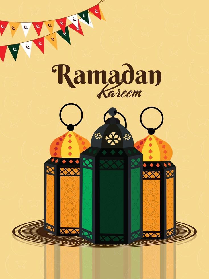 realistische vector van ramadan kareem en achtergrond