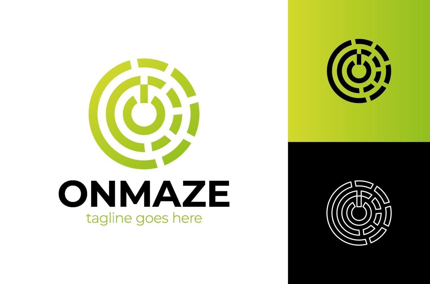 beginletter o-logo met op-knopsjabloon met cirkel lineart doolhof in platte ontwerp illustratie. vector