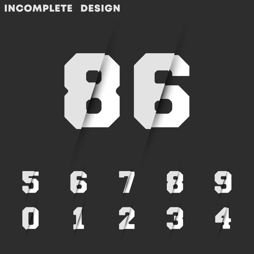 onvolledig digitaal ontwerp. aantal getallen 0 1 2 3 4 5 6 7 8 9. vectorillustratie vector