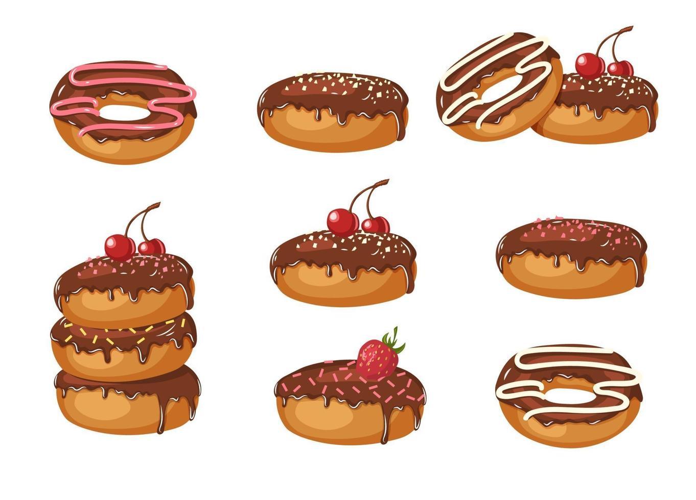 set van vector zoete chocolade geglazuurde donuts met poeder, kersen, aardbeien en chocoladeroom geïsoleerd op wit. voedsel ontwerp. illustratie voor feestdagen, verjaardagen, banners, patronen.